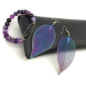 Purple Beads Bracelet plus earrings gift set